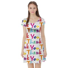 Wallpaper With The Words Thank You In Colorful Letters Short Sleeve Skater Dress