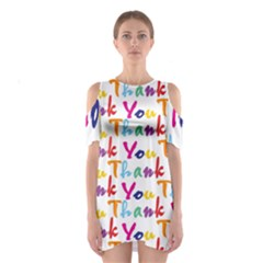 Wallpaper With The Words Thank You In Colorful Letters Shoulder Cutout One Piece