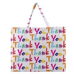 Wallpaper With The Words Thank You In Colorful Letters Zipper Large Tote Bag