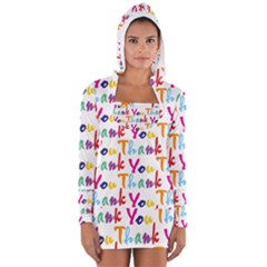 Wallpaper With The Words Thank You In Colorful Letters Women s Long Sleeve Hooded T Shirt