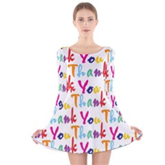 Wallpaper With The Words Thank You In Colorful Letters Long Sleeve Velvet Skater Dress