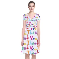 Wallpaper With The Words Thank You In Colorful Letters Short Sleeve Front Wrap Dress