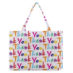 Wallpaper With The Words Thank You In Colorful Letters Medium Zipper Tote Bag