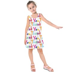 Wallpaper With The Words Thank You In Colorful Letters Kids  Sleeveless Dress