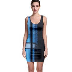 Modern Office Window Architecture Detail Sleeveless Bodycon Dress