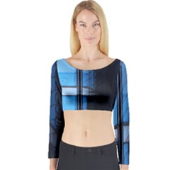 Modern Office Window Architecture Detail Long Sleeve Crop Top