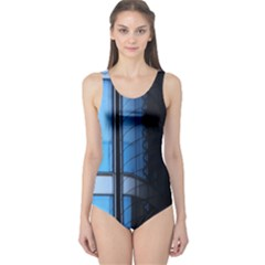 Modern Office Window Architecture Detail One Piece Swimsuit