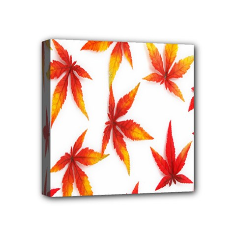 Colorful Autumn Leaves On White Background Mini Canvas 4  X 4