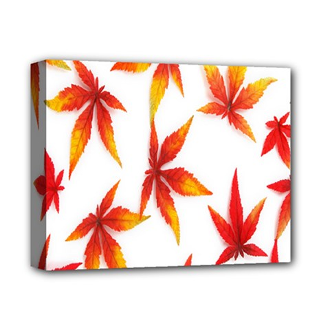 Colorful Autumn Leaves On White Background Deluxe Canvas 14  x 11