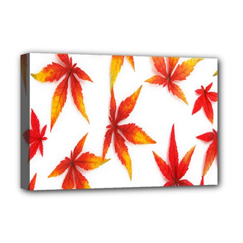 Colorful Autumn Leaves On White Background Deluxe Canvas 18  x 12