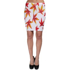 Colorful Autumn Leaves On White Background Bodycon Skirt