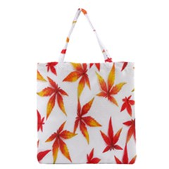 Colorful Autumn Leaves On White Background Grocery Tote Bag