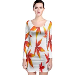 Colorful Autumn Leaves On White Background Long Sleeve Bodycon Dress