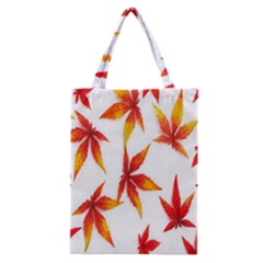 Colorful Autumn Leaves On White Background Classic Tote Bag