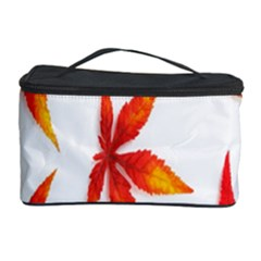 Colorful Autumn Leaves On White Background Cosmetic Storage Case