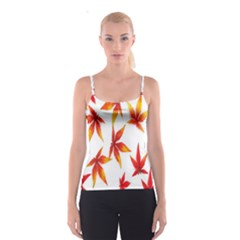 Colorful Autumn Leaves On White Background Spaghetti Strap Top