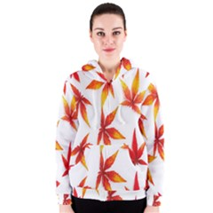 Colorful Autumn Leaves On White Background Women s Zipper Hoodie