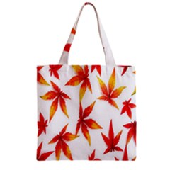 Colorful Autumn Leaves On White Background Zipper Grocery Tote Bag