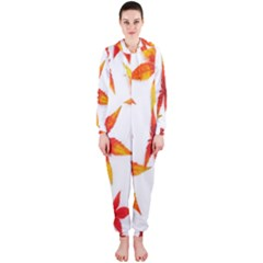 Colorful Autumn Leaves On White Background Hooded Jumpsuit (ladies)