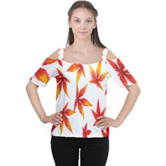 Colorful Autumn Leaves On White Background Women s Cutout Shoulder Tee