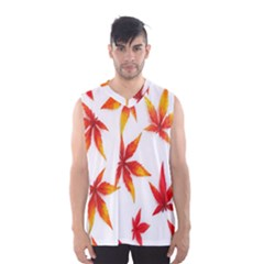 Colorful Autumn Leaves On White Background Men s Basketball Tank Top