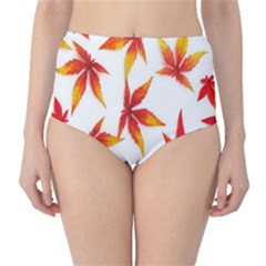 Colorful Autumn Leaves On White Background High Waist Bikini Bottoms