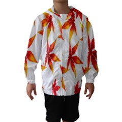Colorful Autumn Leaves On White Background Hooded Wind Breaker (Kids)