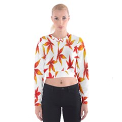 Colorful Autumn Leaves On White Background Women s Cropped Sweatshirt