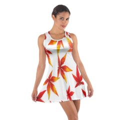 Colorful Autumn Leaves On White Background Cotton Racerback Dress