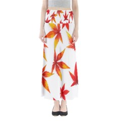 Colorful Autumn Leaves On White Background Maxi Skirts