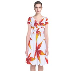 Colorful Autumn Leaves On White Background Short Sleeve Front Wrap Dress