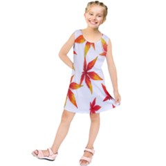 Colorful Autumn Leaves On White Background Kids  Tunic Dress
