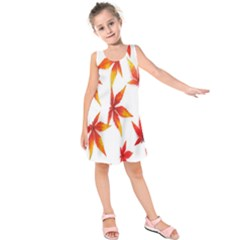 Colorful Autumn Leaves On White Background Kids  Sleeveless Dress