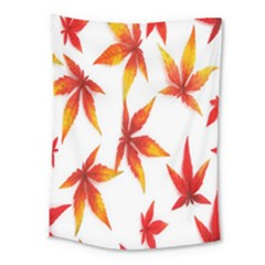 Colorful Autumn Leaves On White Background Medium Tapestry