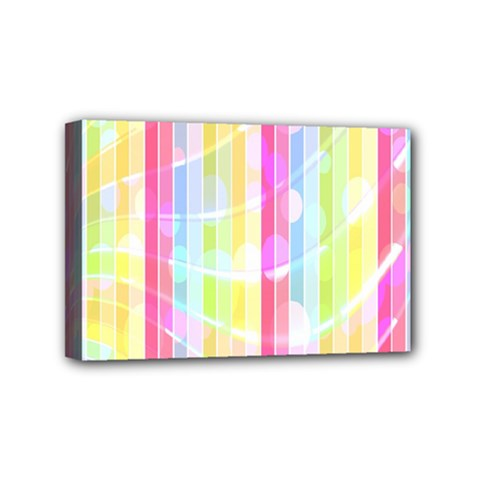 Colorful Abstract Stripes Circles And Waves Wallpaper Background Mini Canvas 6  X 4
