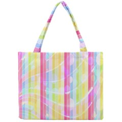 Colorful Abstract Stripes Circles And Waves Wallpaper Background Mini Tote Bag