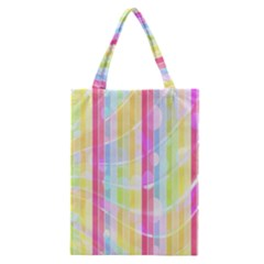Colorful Abstract Stripes Circles And Waves Wallpaper Background Classic Tote Bag