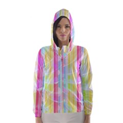 Colorful Abstract Stripes Circles And Waves Wallpaper Background Hooded Wind Breaker (Women)
