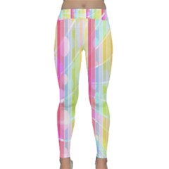 Colorful Abstract Stripes Circles And Waves Wallpaper Background Classic Yoga Leggings