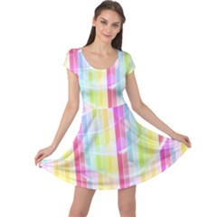 Colorful Abstract Stripes Circles And Waves Wallpaper Background Cap Sleeve Dresses