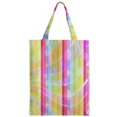 Colorful Abstract Stripes Circles And Waves Wallpaper Background Zipper Classic Tote Bag