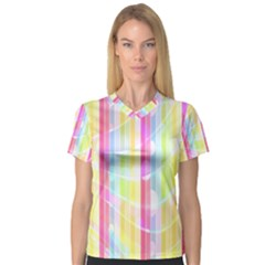 Colorful Abstract Stripes Circles And Waves Wallpaper Background Women s V-Neck Sport Mesh Tee