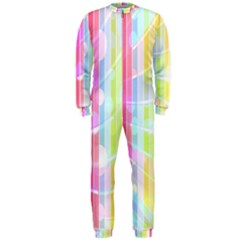 Colorful Abstract Stripes Circles And Waves Wallpaper Background OnePiece Jumpsuit (Men)