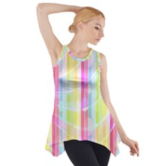 Colorful Abstract Stripes Circles And Waves Wallpaper Background Side Drop Tank Tunic