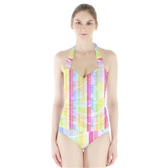 Colorful Abstract Stripes Circles And Waves Wallpaper Background Halter Swimsuit