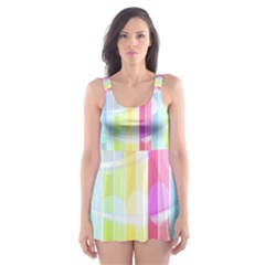 Colorful Abstract Stripes Circles And Waves Wallpaper Background Skater Dress Swimsuit