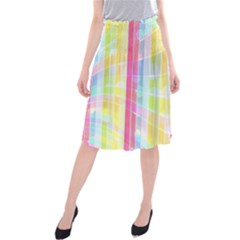 Colorful Abstract Stripes Circles And Waves Wallpaper Background Midi Beach Skirt