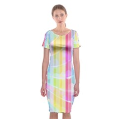 Colorful Abstract Stripes Circles And Waves Wallpaper Background Classic Short Sleeve Midi Dress