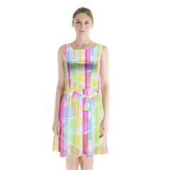 Colorful Abstract Stripes Circles And Waves Wallpaper Background Sleeveless Chiffon Waist Tie Dress