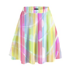 Colorful Abstract Stripes Circles And Waves Wallpaper Background High Waist Skirt